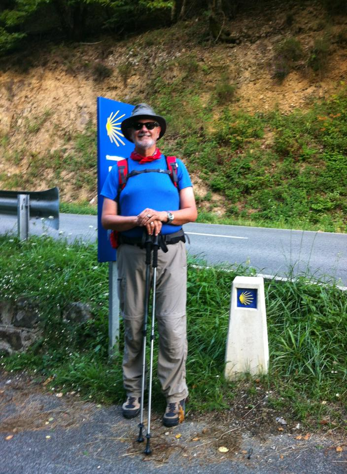Alan at our first cement markers leading us off the N-135 into Ganecoleta