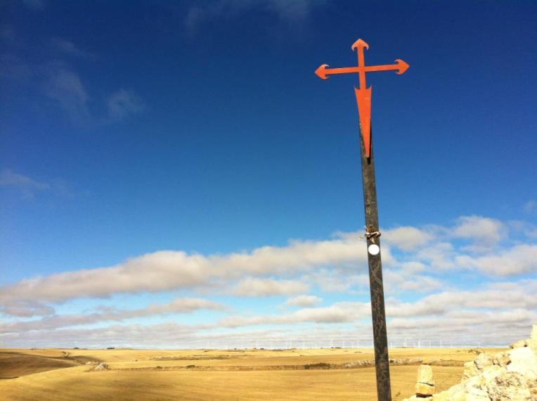 The Cross of Santiago (St. James) on the Meseta near Fuente de Praotorre