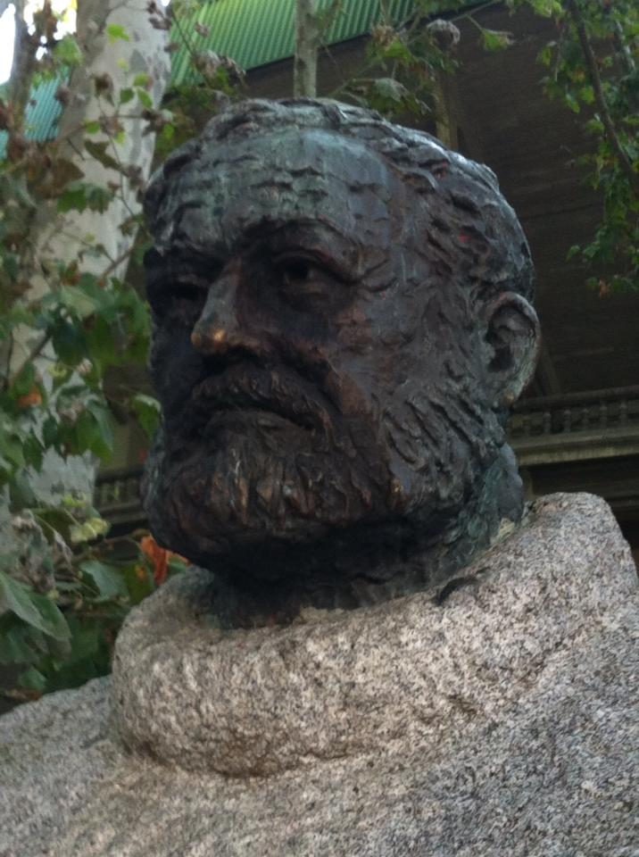 Hemmingway's bust at the bullring in Pamplona