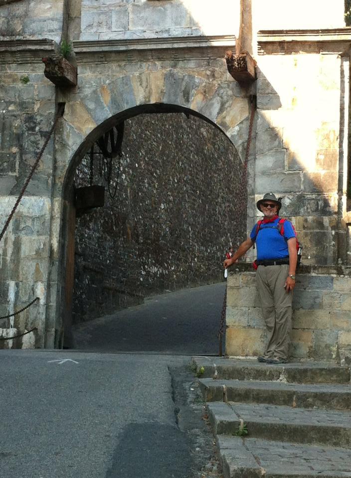Alan at the drawbridge entrance to Pamplona