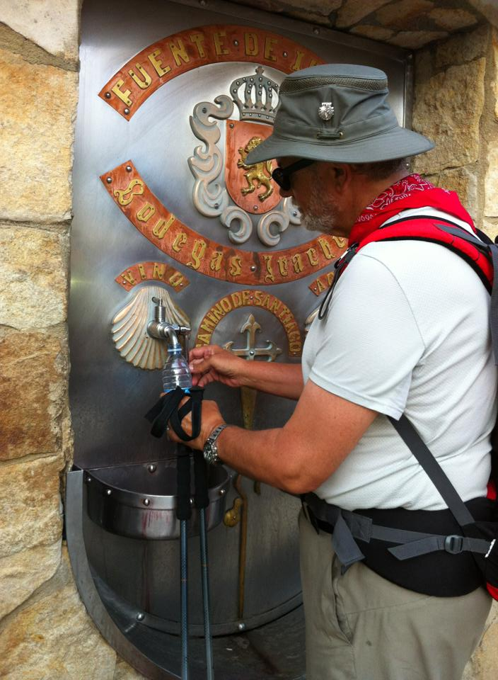 Alan at the famed Wine Fountain courtesy of Bodegas Irache winery