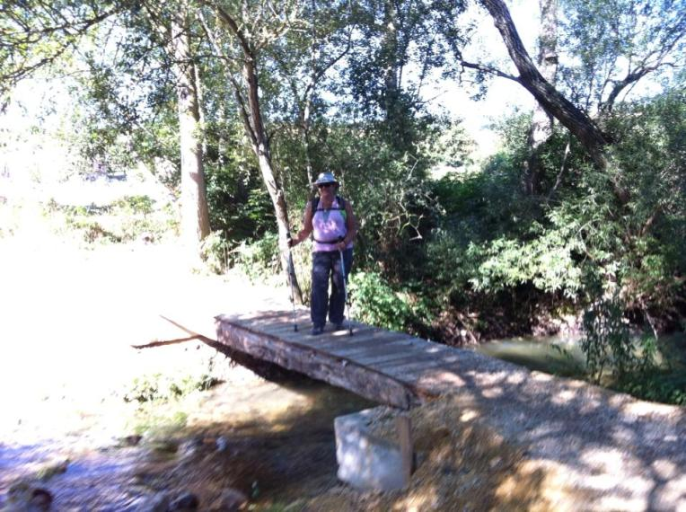 Tracy on foot bridge near Villafranca Montes de Oca