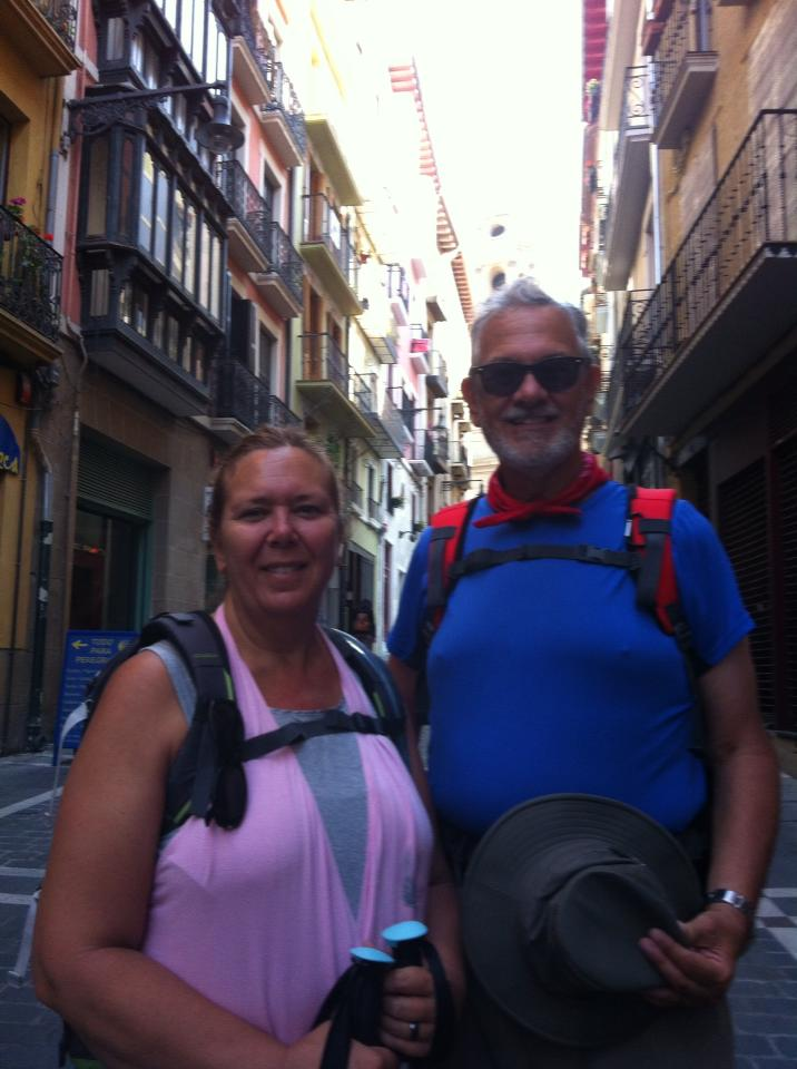 Alan and Tracy in Pamplona on the street where the bulls run