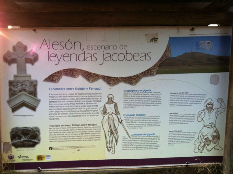 Sign board for Poyo de Roldan, explaining the legend of Roland and Ferregut