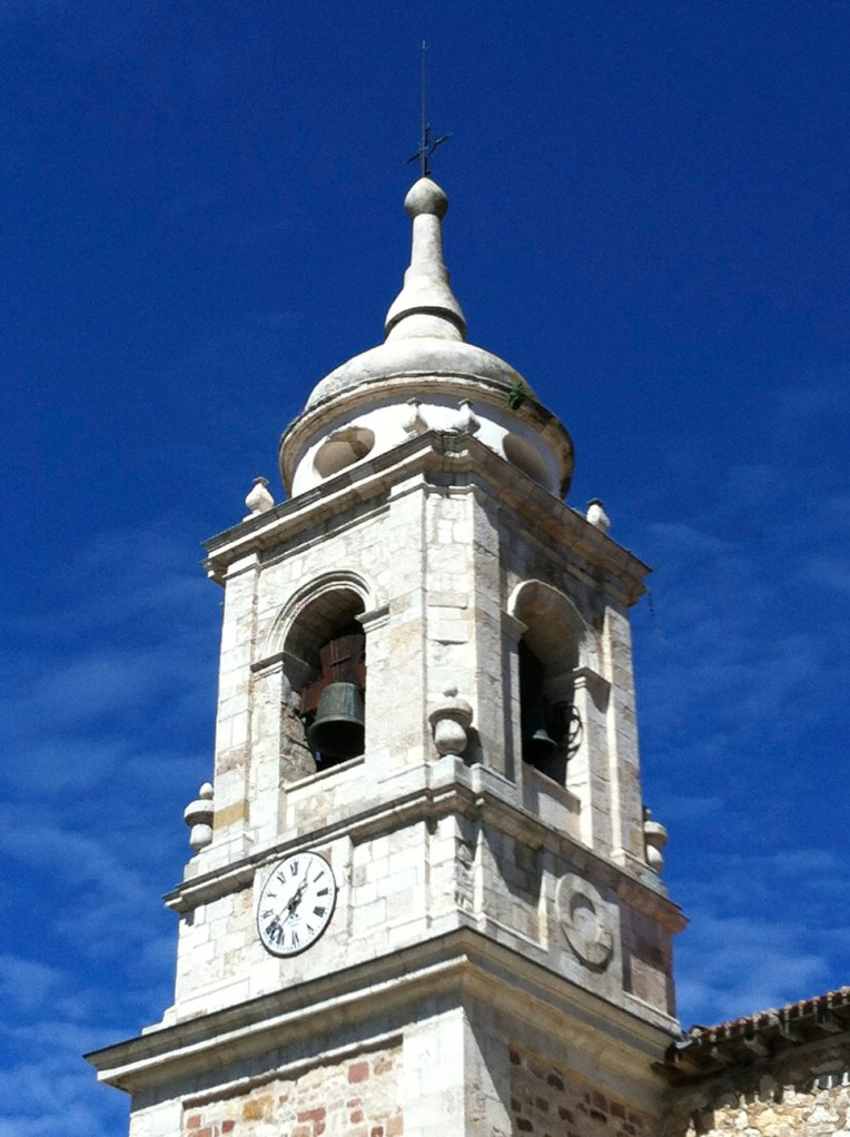 Bell tower of the Church of Santiago in Villafranca Montes de Oca