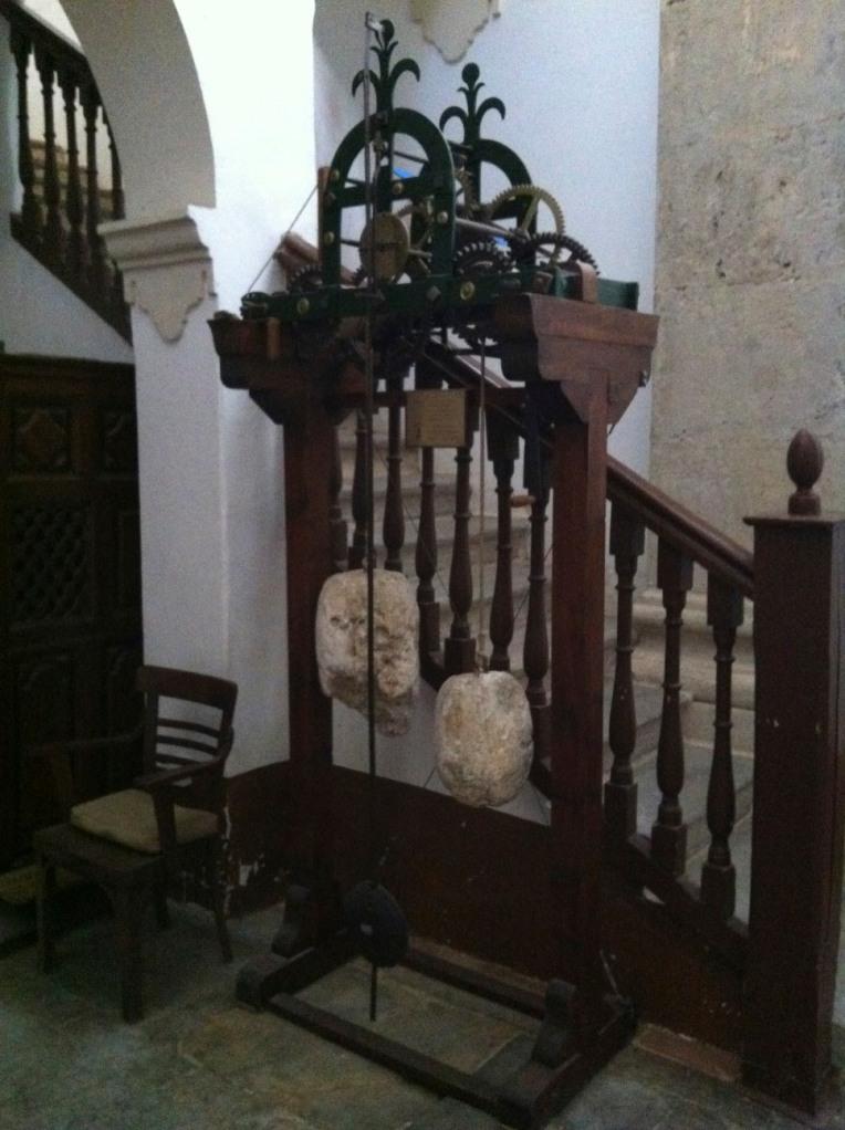 11th century pendulum clock, interior of the Church of Santiago, Villafranca Montes de Oca