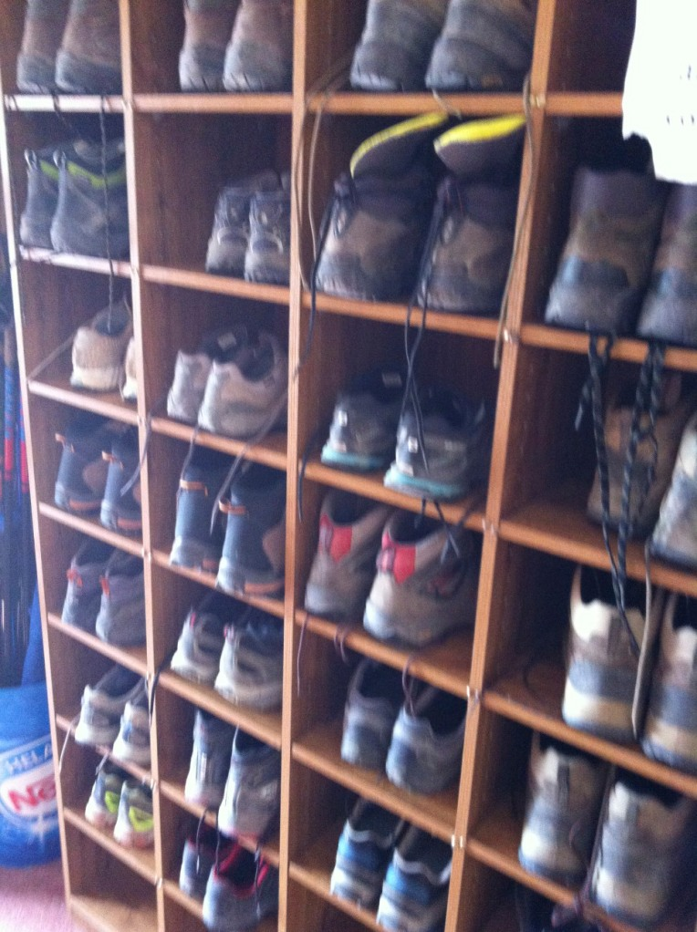 Boot rack at our albergue in Ages