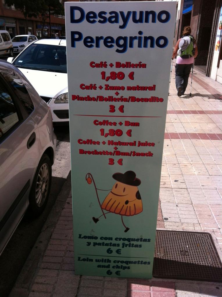 Breakfast menu, Burgos
