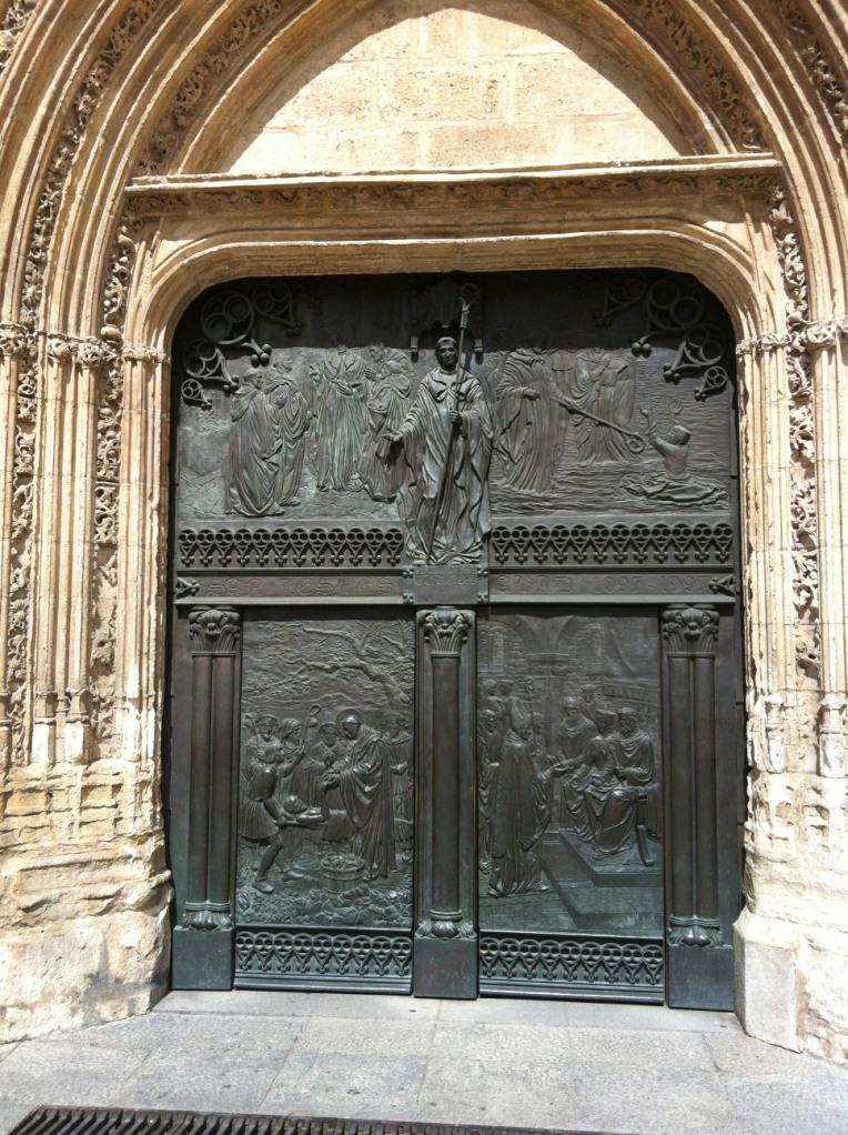 Bronze doors of a church near the cathedral in Burgos