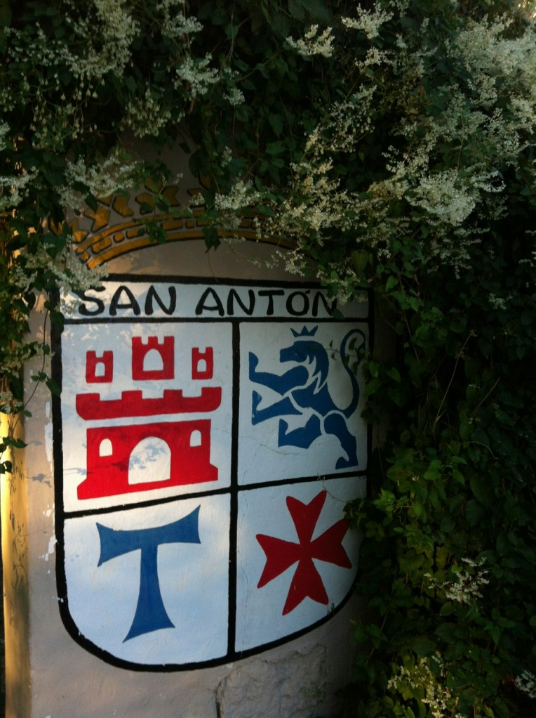 """Plaque at San Antón convent, showing the Tau """"T-shaped"""" cross"""