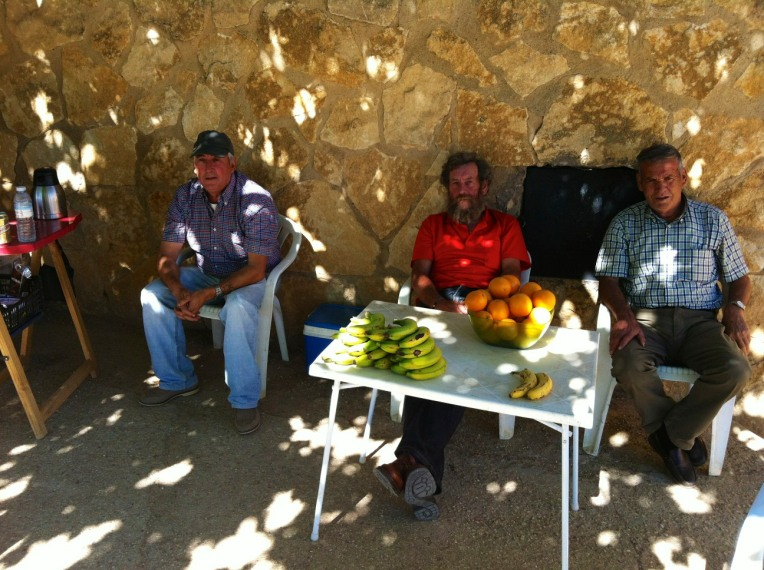 These gentleman come here (Fuente del Piojo) each day with snacks and drinks for pilgrims - donativo