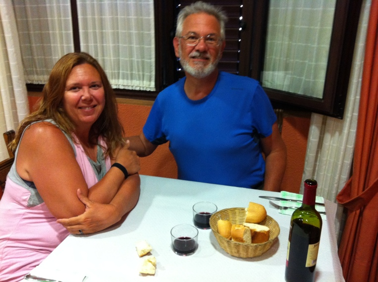 Alan and Tracy at dinner in the albergue restaurant