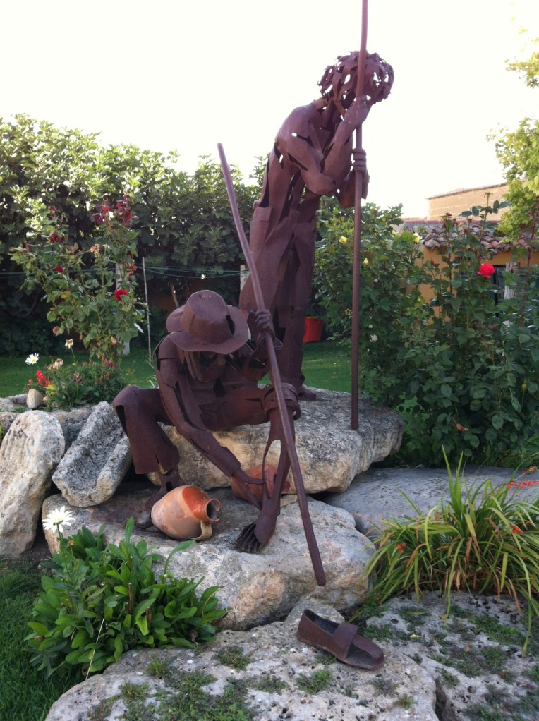 Pilgrim sculptures in the garden at the En El Camino alberge in Boadilla del Camino