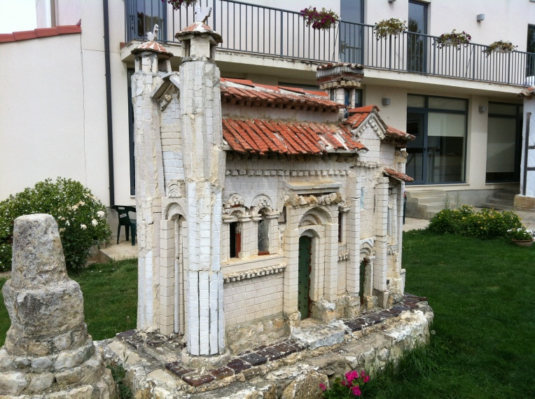 Model of the 16th century parish church dedicated to Mary Magdelene on the hotel patio