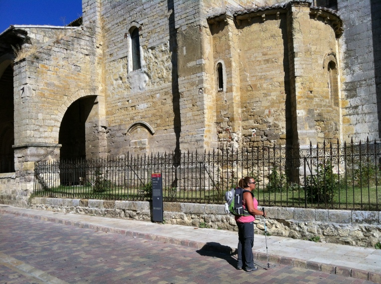 Tracy at Santa María del Camino, St. Mary of the Way, 12th century façade, Carrion de los Condes