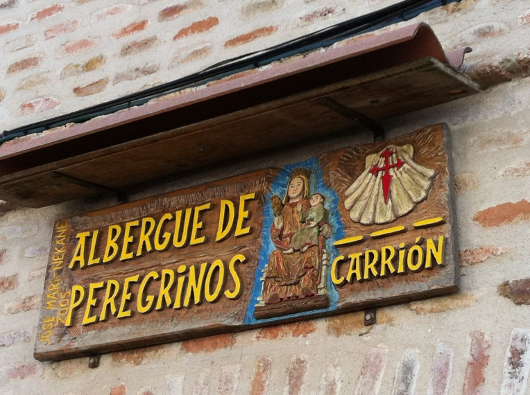 Sign for the albergue