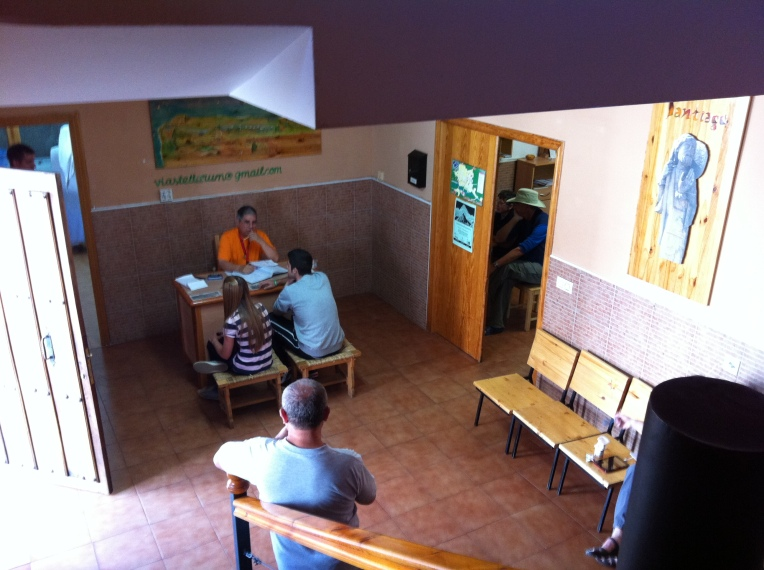 Reception area of the Santa María albergue, Carrion de los Condes