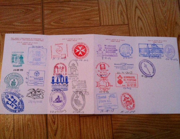 Credential, filling with stamps