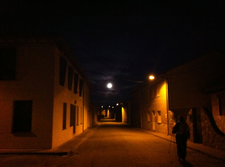 Leaving Bercianos del Real Camino, pre-dawn