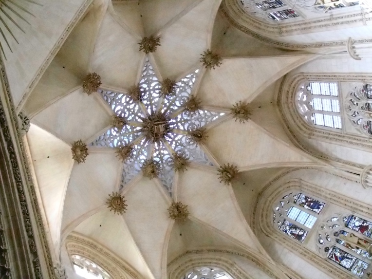 One of the beautiful domes of the 13th century, gothic Cathedral de Santa Maria, Burgos