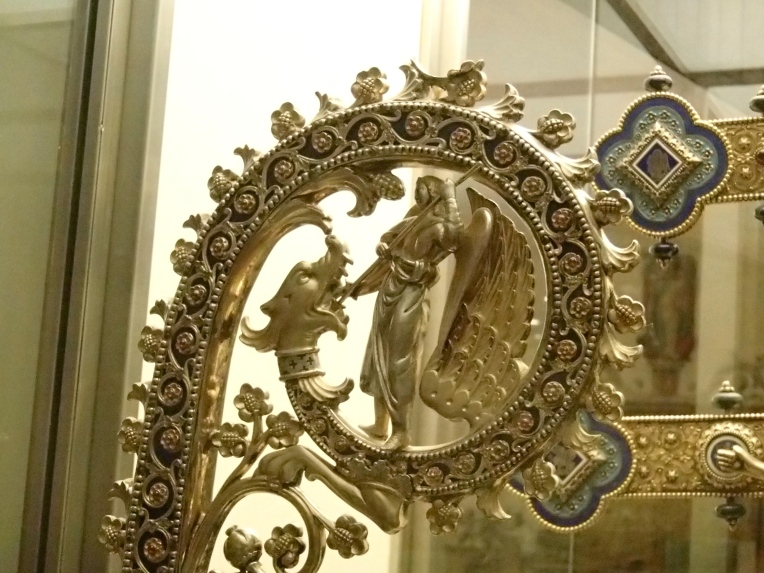 Staff depicting St. George the Dragon Slayer, Burgos Cathedral Museum