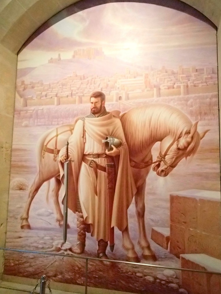 Portrait of El Cid and his steed, Babieca - a white Andalusian, with whom he was interred before being re-interred with his wife in the Burgos Cathedral