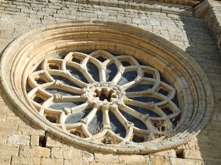 Rose window of Santa María la Virgen Blanca, 12th century, built by the Knights Templar, Villalsirga