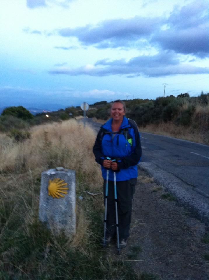 Tracy with Camino marker near Molinaseca