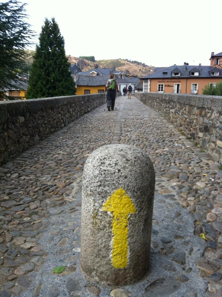Entering Molinaseca on the medieval pilgrim's bridge