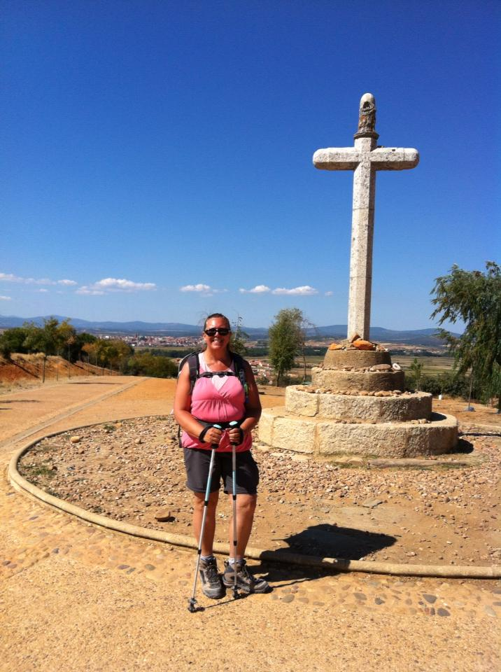 Tracy at pilgrim monument, Cruciero de Santo Toribio, Astorga's Monte Gozo (Hill of Joy)