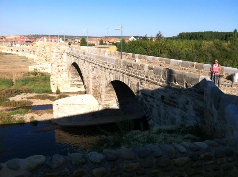 Puente de Orbigo, 13th century bridge built over earlier Roman bridge which saw the battle between the Visigoths and Swabians in 452, Hospital de Orbiga