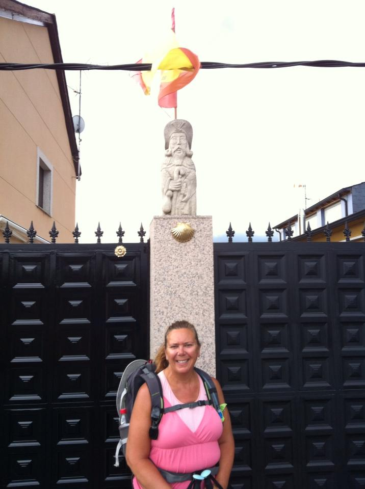 Pilgrim statue and Camino marker, Ponferrada