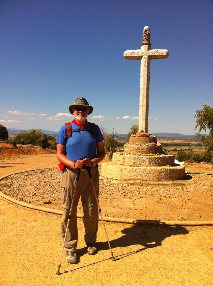 Alan at pilgrim monument, Cruciero de Santo Toribio, Astorga's Monte Gozo (Hill of Joy)