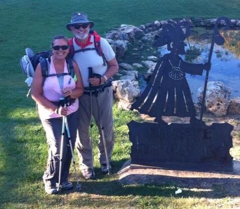 Alan and Tracy with pilgrim sculpture, La Virgen del Camino