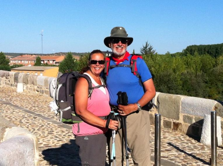 Alan and Tracy at Puente de Orbigo, 13th century bridge