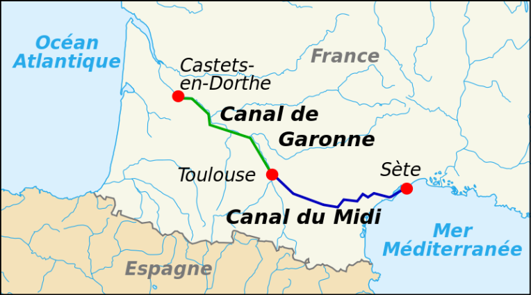 Map of Canal du Midi. (Image courtesy of Wikimedia Commons)