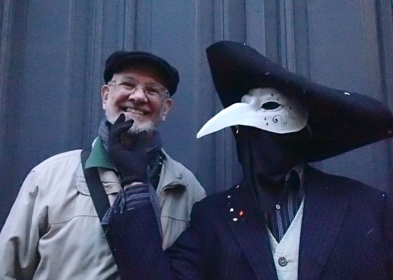 Alan and a traditional Masquerader at Carnaval de Carcassonne, 2014