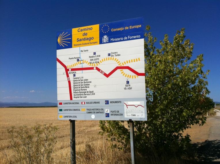 Camino signage along the Senda