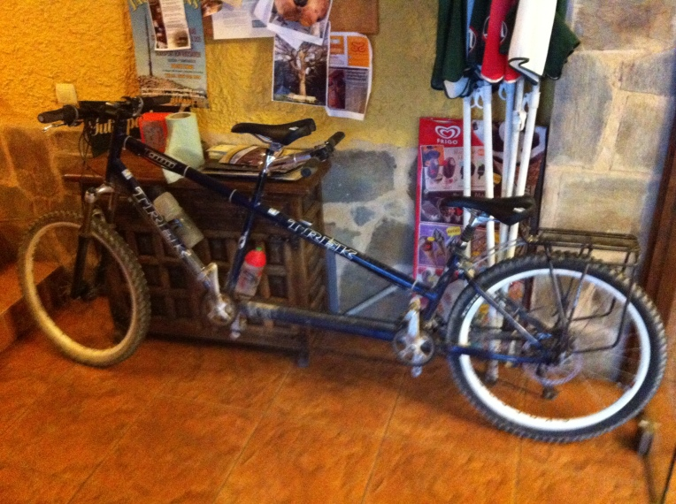 Tandem bike in our albergue in Rabanal del Camino
