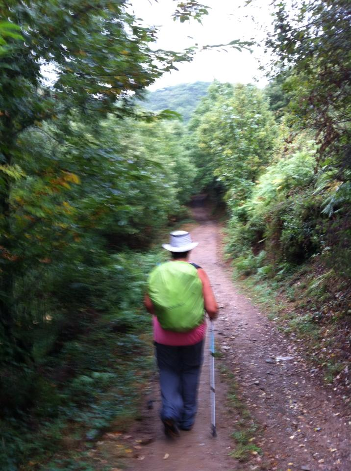 Tracy on the trail to La Faba