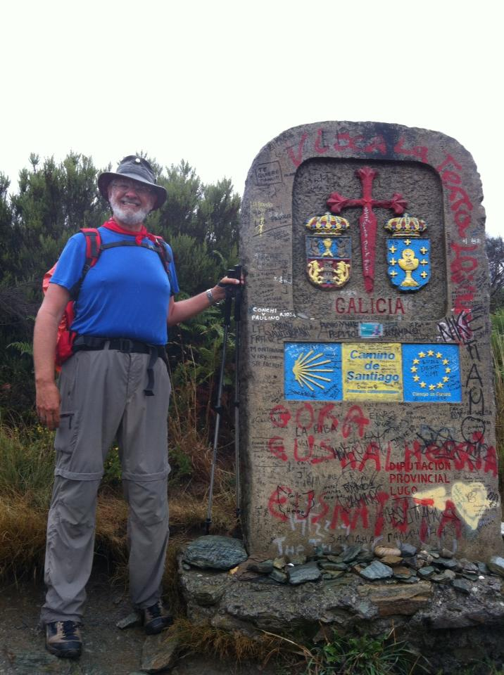 Alan at the Galicia Province marker, the final Province in Spain