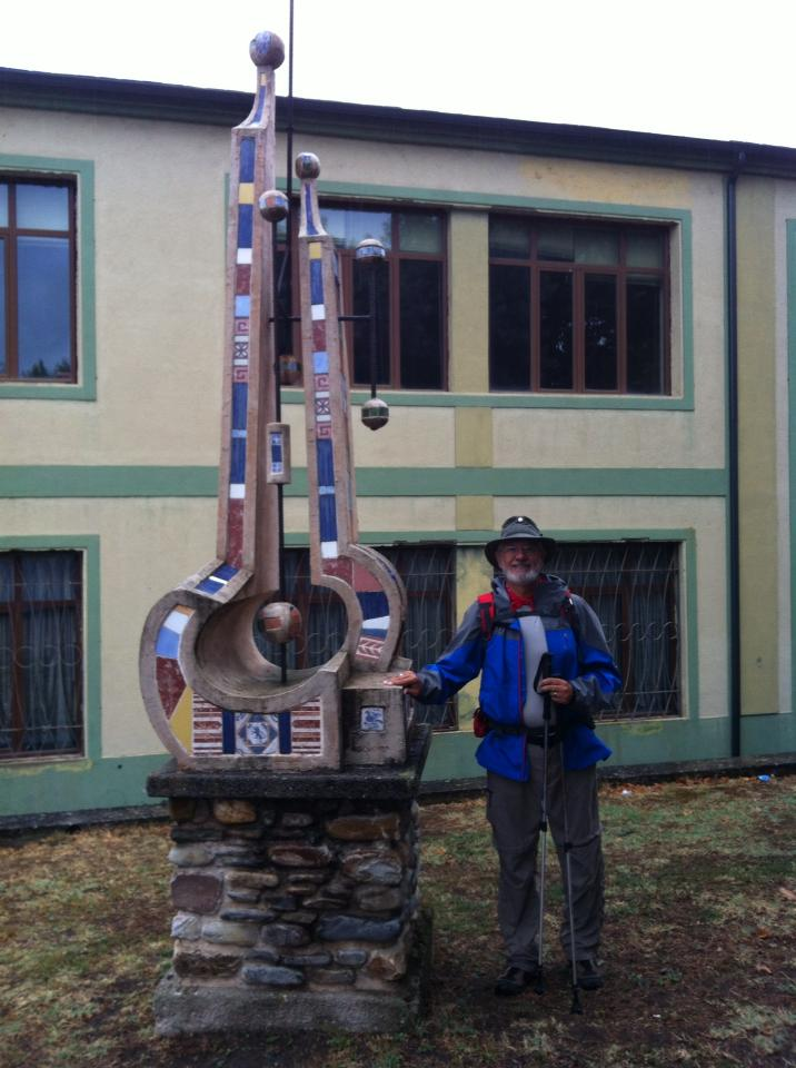 Alan with music monument in Villafranca del Bierzo