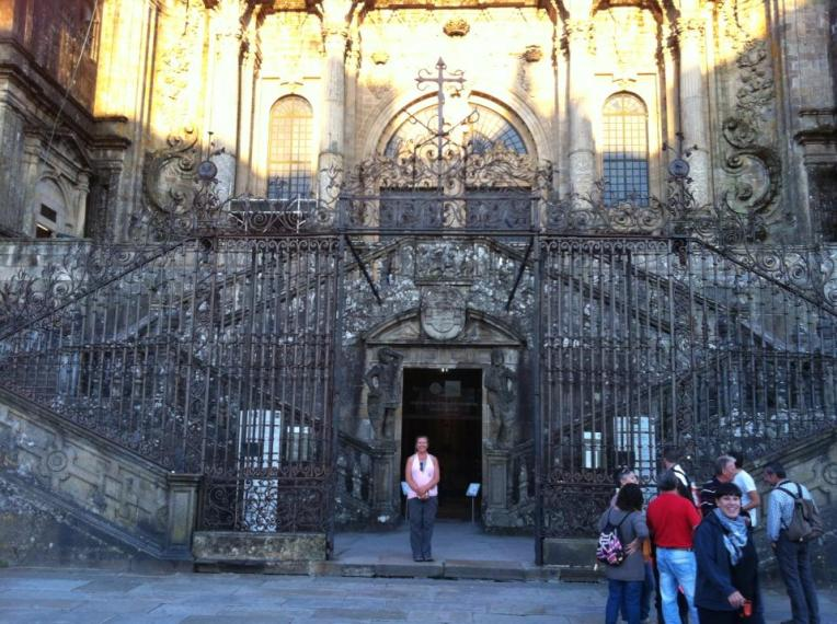Tracy at the Porta Santa, Holy Gate – one of several entrances to the Cathedral