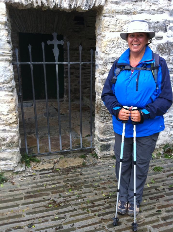 Tracy at the tiny opening to the Iglesia San Juan, 11th century, Hospital de la Condesa