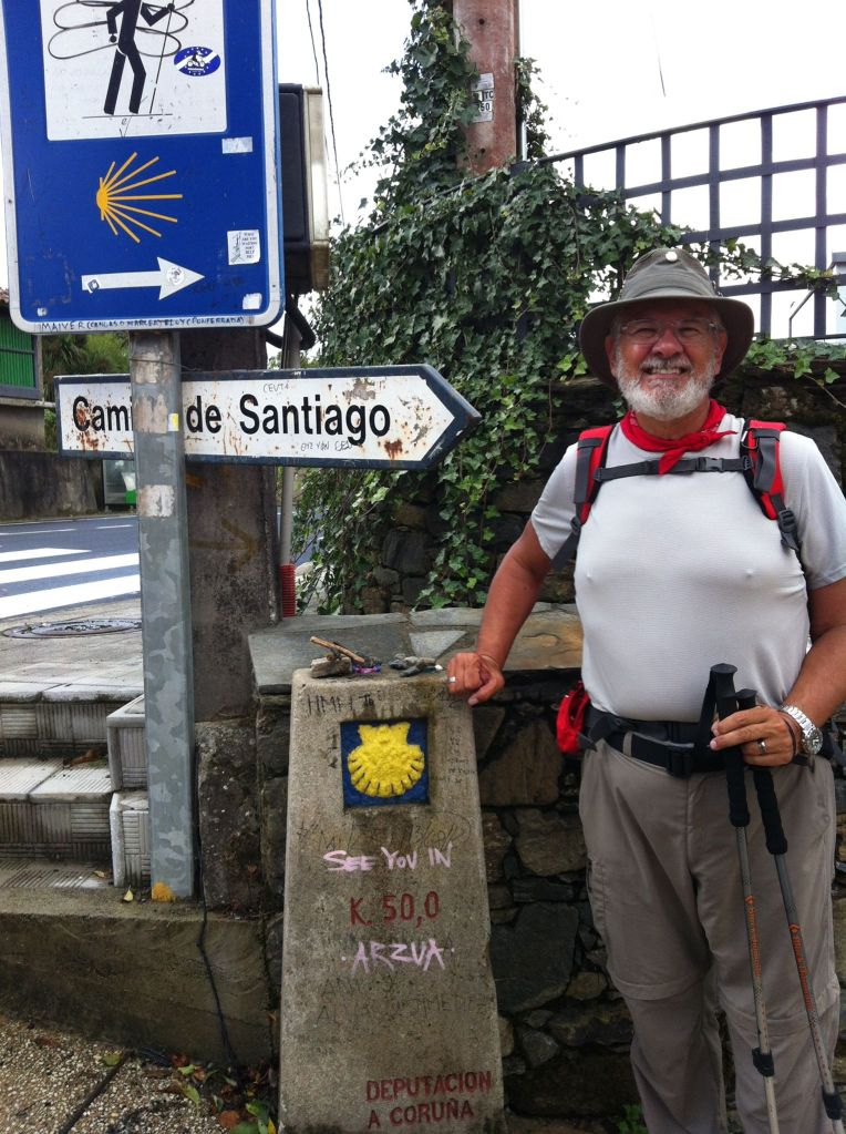 Alan at 50 kilometer marker near Arzua