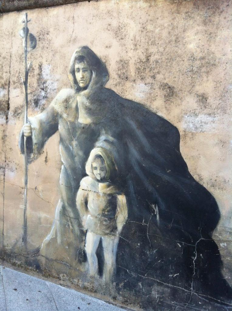 Detail of pilgrim mural in Sarria