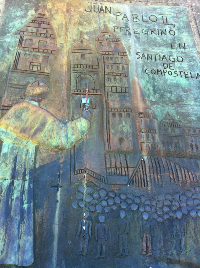 Detail of panel depicting Pope John Paul II walking the Camino de Santiago, Monte do Gozo (Hill of Joy)