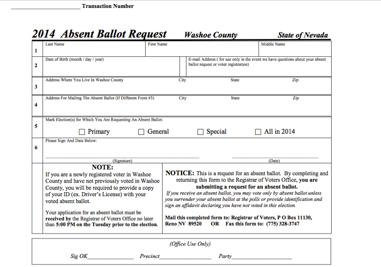 Washoe County Absent Ballot Request