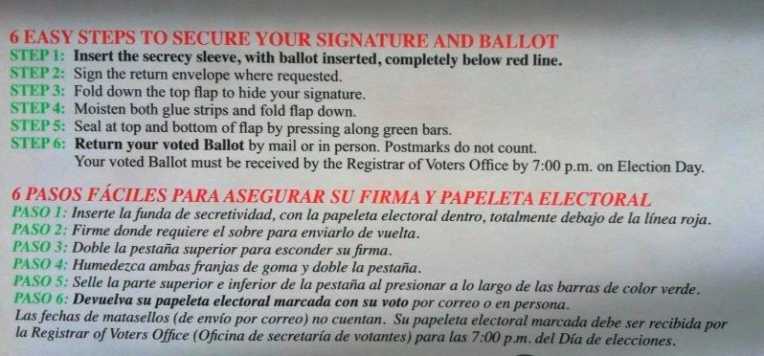 Ballot Mailing Directions