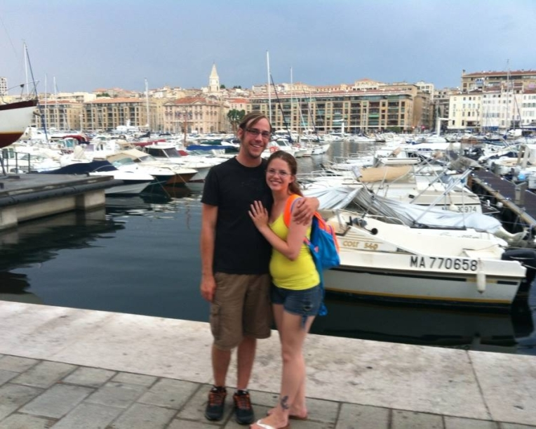 Casey and Megan at the Marseille marina.